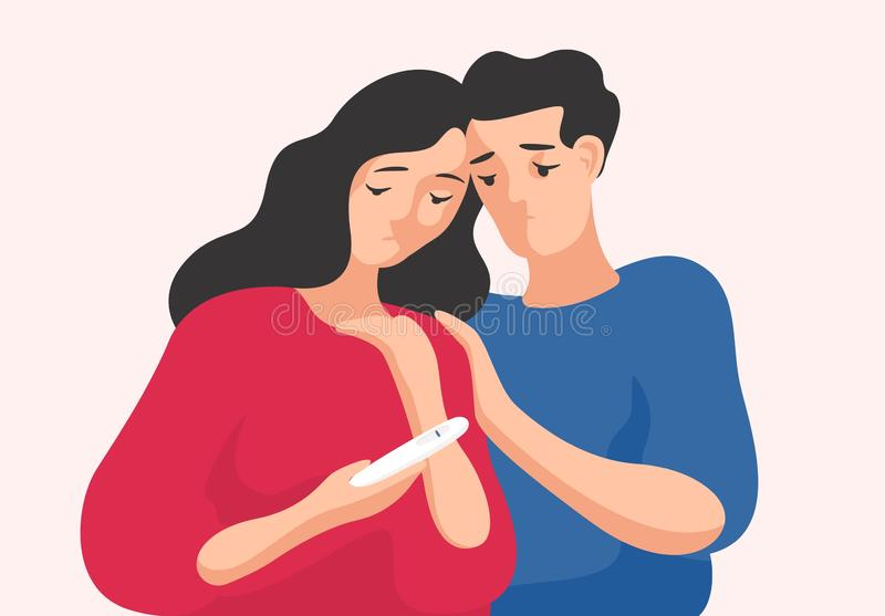 Ledsen man och kvinna som tillsammans står och ser graviditetstestet som visar en linje Ofruktsamma par, fruktsamhett problem stock illustrationer