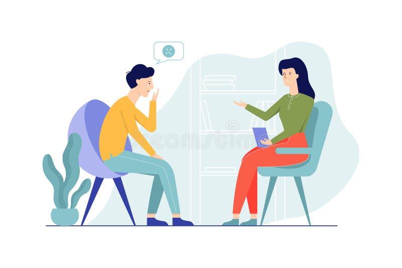 Ledsen man som sitter på stolen som talar till den kvinnliga psykologen vektor illustrationer
