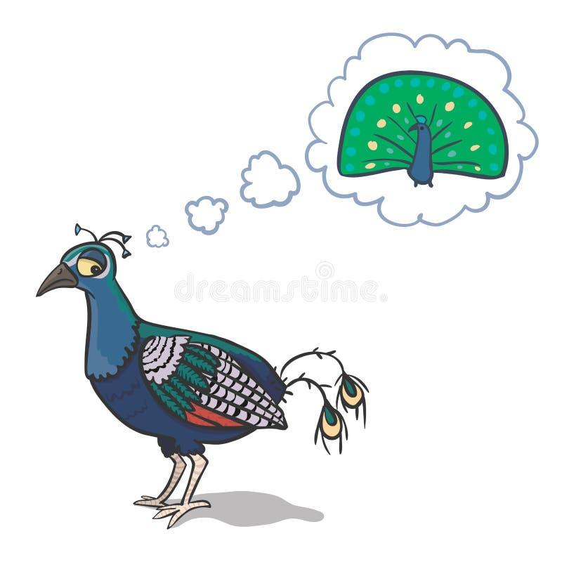 Ledsen påfågel stock illustrationer