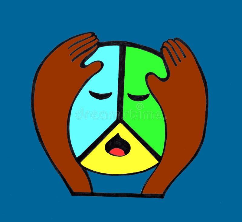 Ledsen PacifiÑ för fredsymboler  stock illustrationer