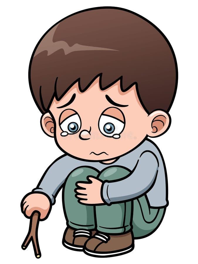 Ledsen pojke stock illustrationer