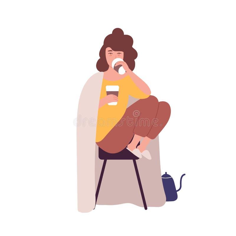 Ledsen sömnig ung kvinna som dricker kaffe Begrepp av caffeinberoende eller böjelse, onormalt uppförande Mentalsjukdom stock illustrationer