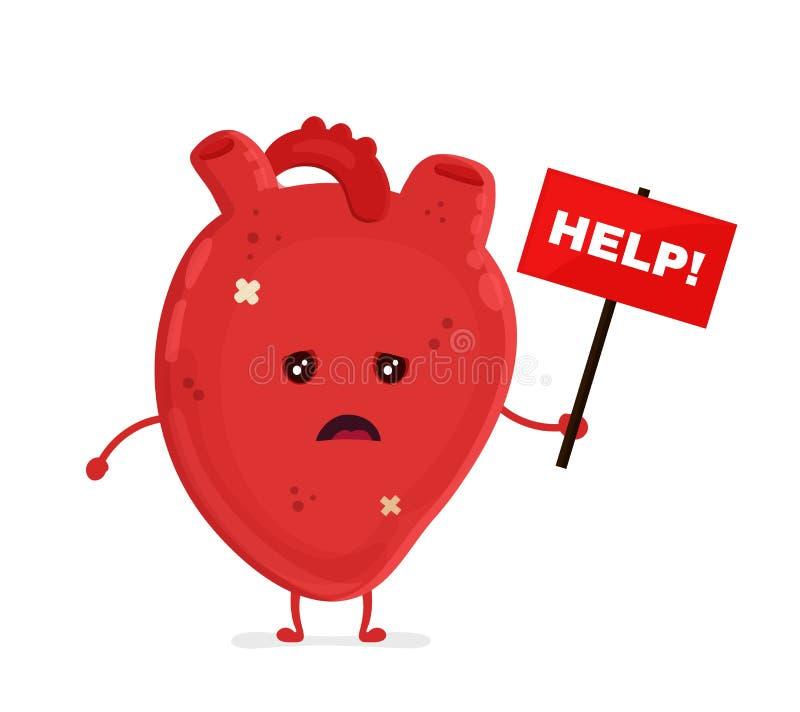 Ledsen sjuklig sjuk hjärta med ID-Märket royaltyfri illustrationer