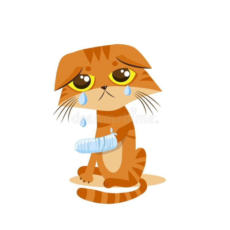 Ledsen skriande katt den främmande tecknad filmkatten flyr illustrationtakvektorn Spjälka benet royaltyfri illustrationer