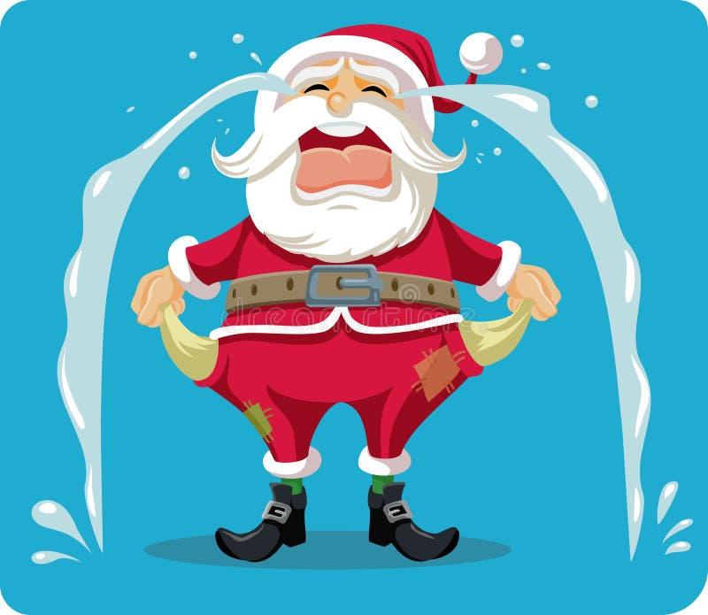 Ledsen skriande Santa With Empty Pockets Vector tecknad film royaltyfri illustrationer