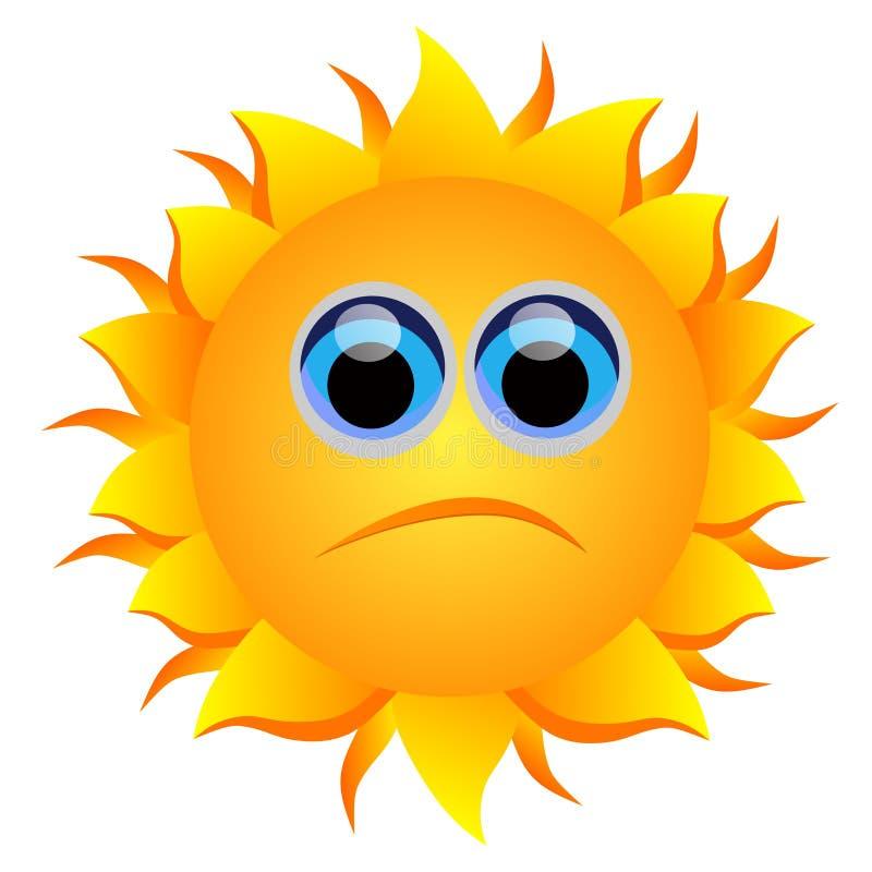 Ledsen sol vektor illustrationer