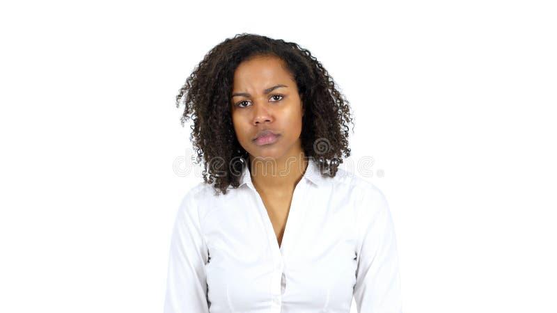 Ledsen svart kvinna, vit bakgrund fotografering för bildbyråer