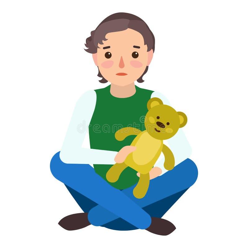 Ledsen symbol för pojkenallebjörn, plan stil stock illustrationer