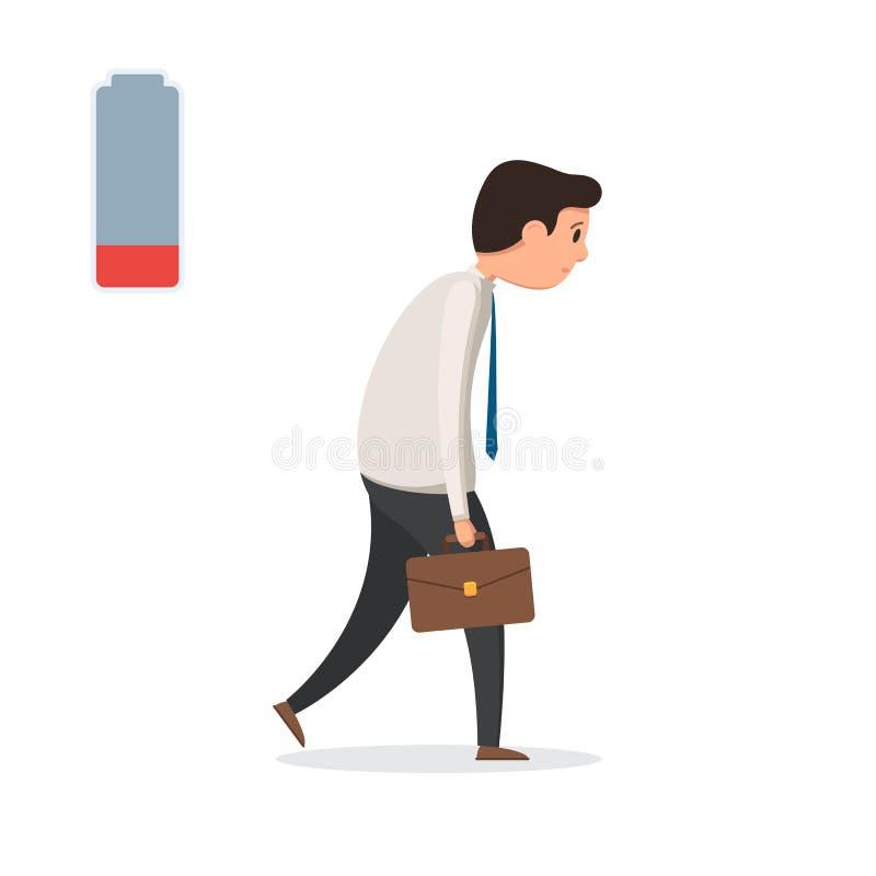 Ledsen trött affärsman stock illustrationer