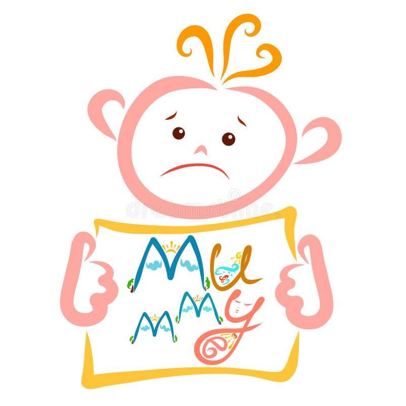 Ledsen unge som drömmer om hans mamma, tecken med ordmamman vektor illustrationer