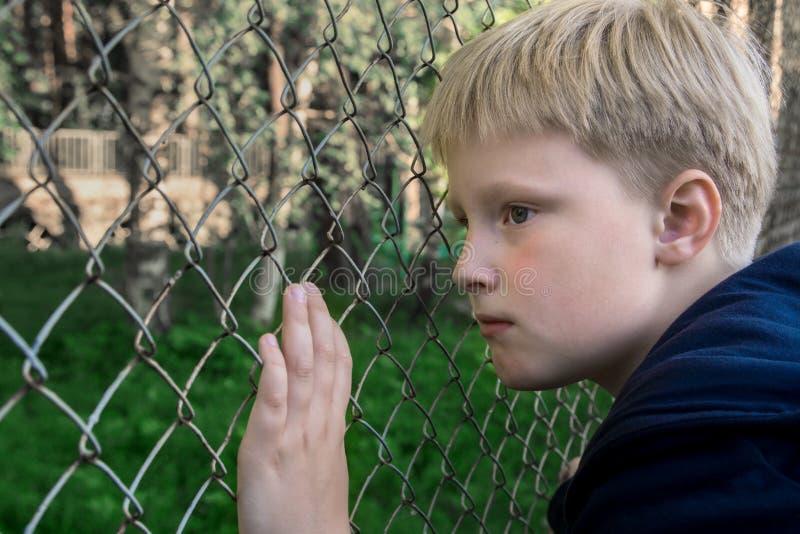 Ledsen uppriven pojke royaltyfri fotografi