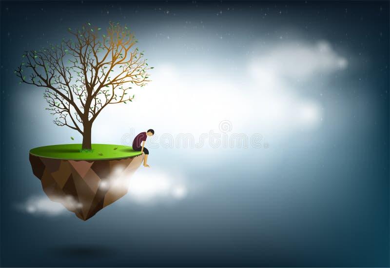 Ledset mansammanträde under ett träd är en begreppsmässig bild av besvikelse, förälskelse royaltyfri illustrationer