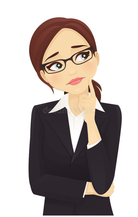 Ledset tänka för affärskvinna stock illustrationer