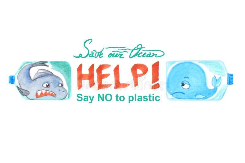 Ledsna havsdjur i plast- flaskor är olyckliga med havförorening f?r flygillustration f?r n?bb dekorativ bild dess paper stycksval vektor illustrationer