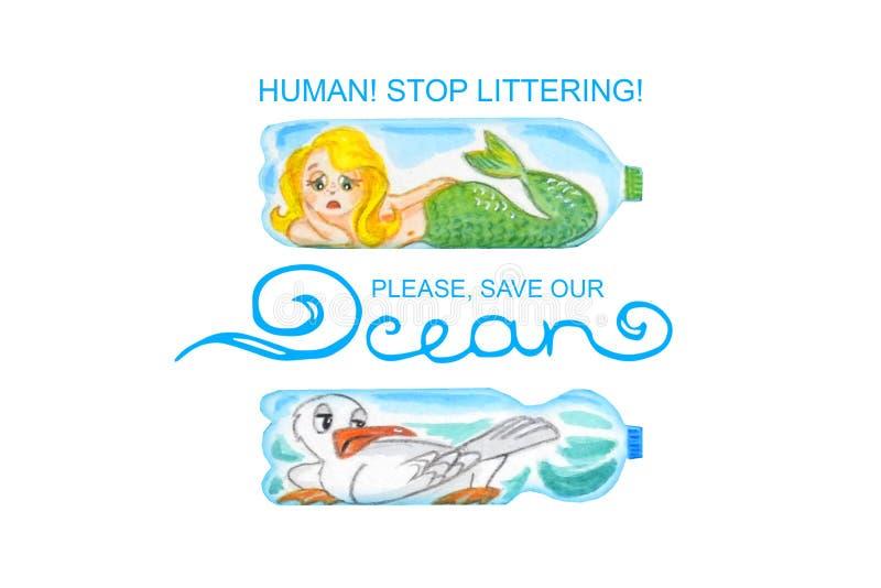 Ledsna havsdjur i plast- flaskor är olyckliga med havförorening f?r flygillustration f?r n?bb dekorativ bild dess paper stycksval stock illustrationer