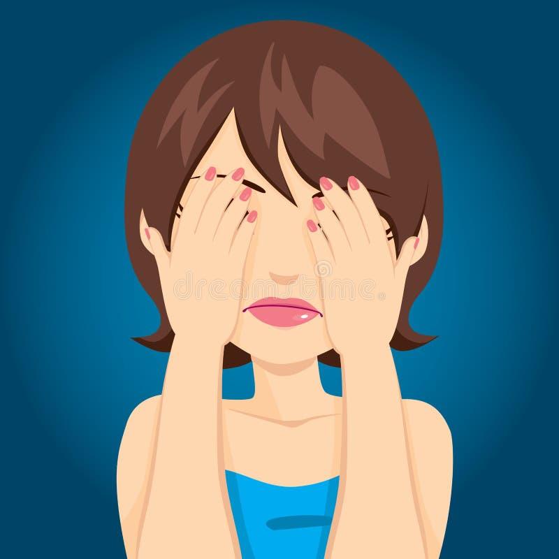 Ledsna kvinnabeläggningögon stock illustrationer