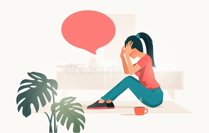 Ledsna och stressade kvinnor hemma som täcker hennes framsida stock illustrationer