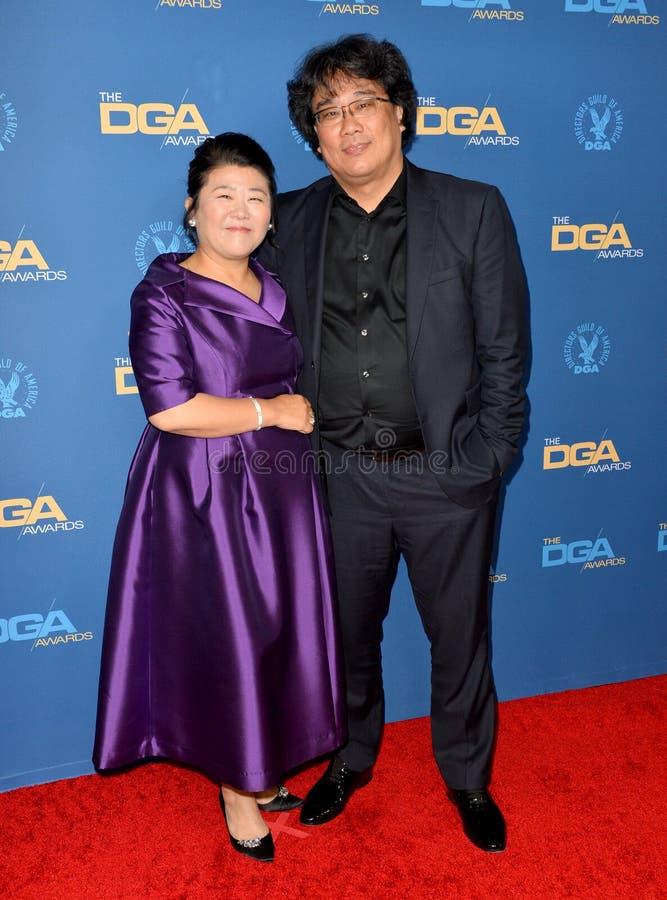 Lee Jeong-eun & Bong Joon-ho. LOS ANGELES, USA. January 25, 2020:  Lee Jeong-eun & Bong Joon-ho at the 72nd Annual Directors Guild Awards at the Ritz-Carlton stock image