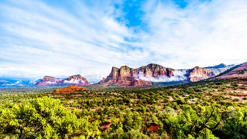 Lee Mountain, Munds Mountain and Twin Butte red rock mountains surrounding the town of Sedona. Lee Mountain, Munds Mountain and Twin Butte and other red rock royalty free stock photography