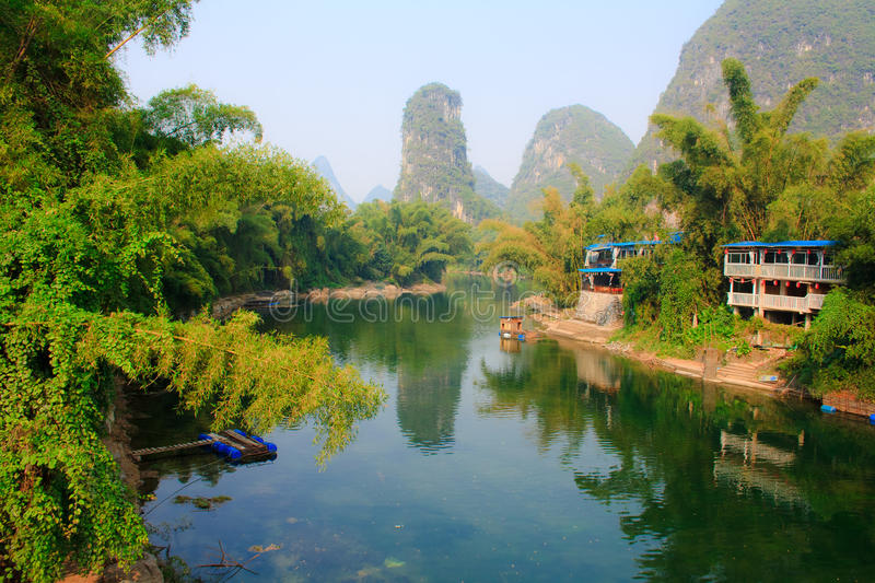 The Lee river in Yangshuo. China. The landscape of Lee river in Yangshuo. China stock photo