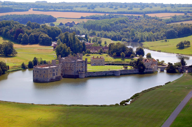 Leeds Castle from the air. Picture of Leeds Castle taken from the hot air balloon royalty free stock photography