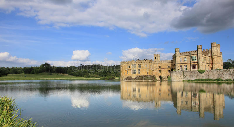 Leeds Castle and lake. Landmark near London, UK stock image