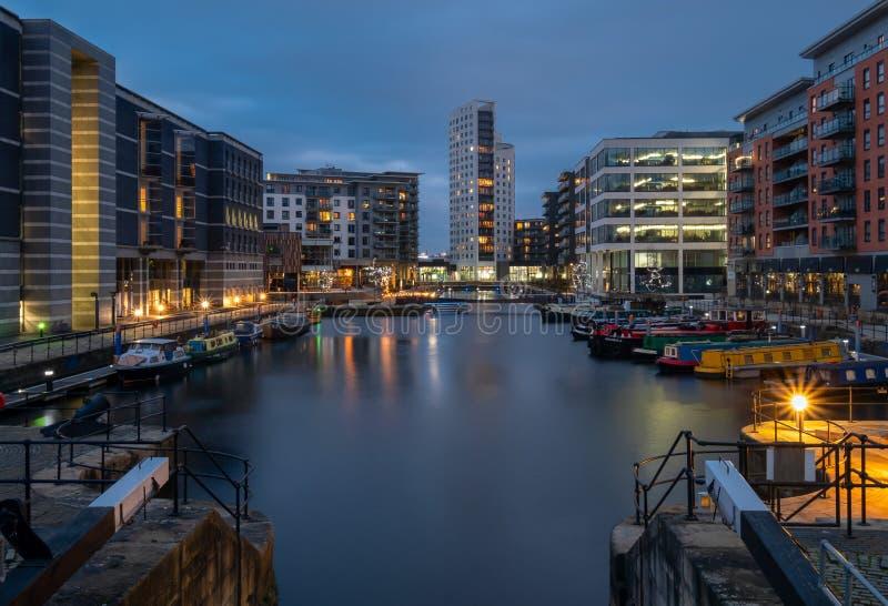 Leeds doki przy półmrokiem obraz royalty free