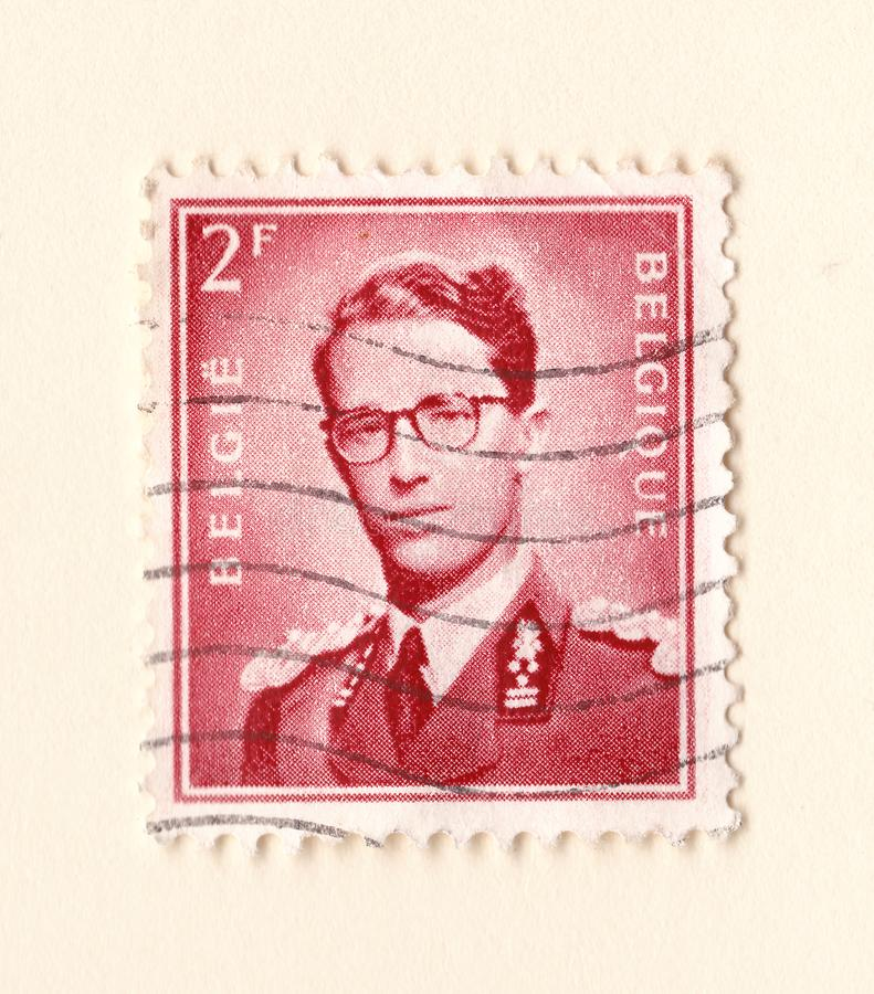 An old red belgium postage stamp with an image of king leopold royalty free stock images