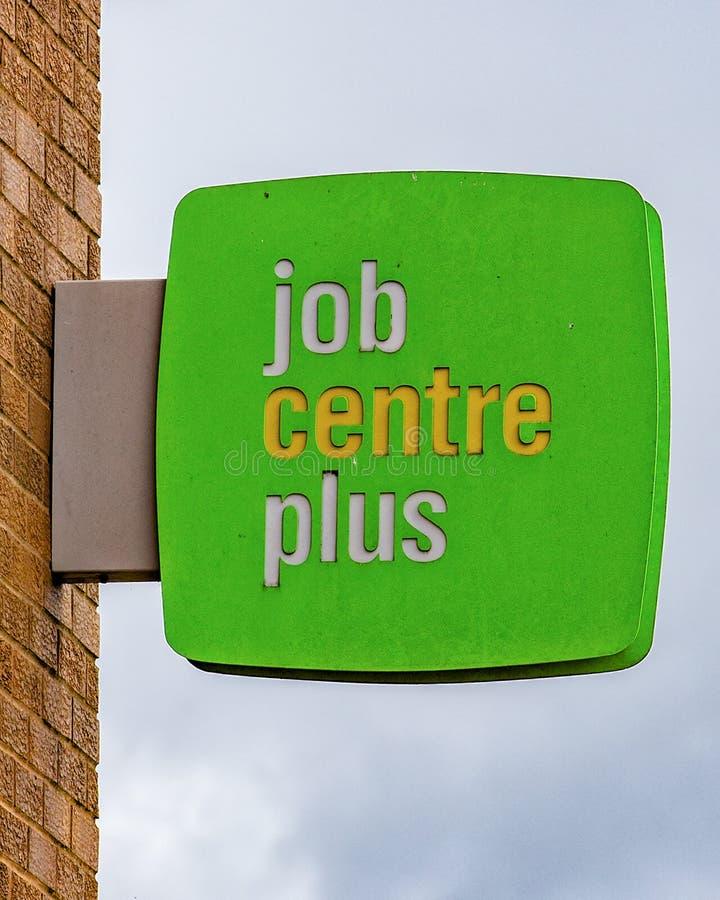 LEEDS, het UK - 14 SEPTEMBER 2017 Job Centre Plus Sign stock foto
