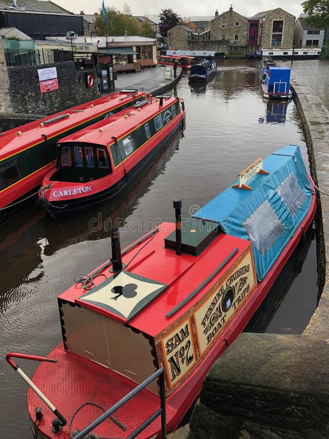 Leeds and Liverpool - Canal at Skipton - Yorkshire - England. Skipton. United Kingdom. 10.09.19. Canal boats on the Leeds and Liverpool Canal at Skipton-in stock images