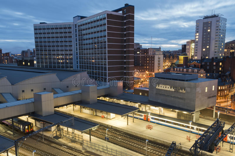 Leeds at Night. Looking at Leeds city centre at night with the train station in the foreground. Just the right time to capture the scene as the light diminishes royalty free stock images