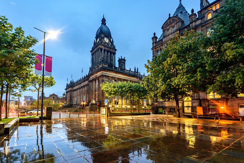 Leeds Town Hall, Leeds West Yorkshire,England. Leeds Town Hall was built on Park Lane (now The Headrow), Leeds, West Yorkshire, England royalty free stock image