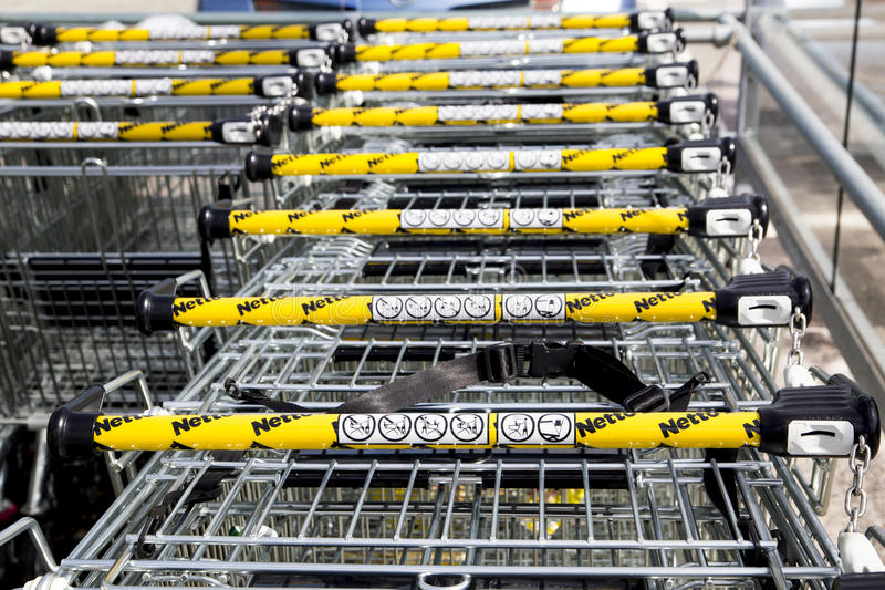 LEEDS, UK - 20 AUGUST 2015. Netto supermarket shopping trollies royalty free stock images