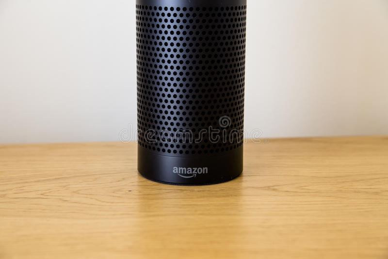 LEEDS, UK - 18 MARCH 2017. Amazon Echo Speaker with Alexa Assistant royalty free stock photo