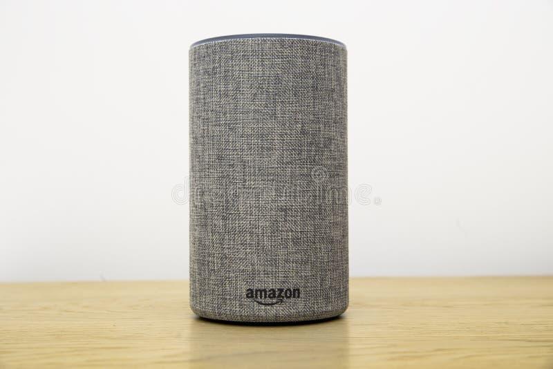 Amazon Echo speaker, grey frabric second generation royalty free stock image