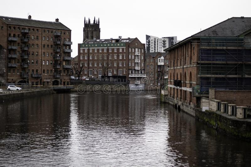 LEEDS, UNITED KINGDOM - Jan 16, 2020: Leeds Canal. From a bridge centrepoint royalty free stock photos