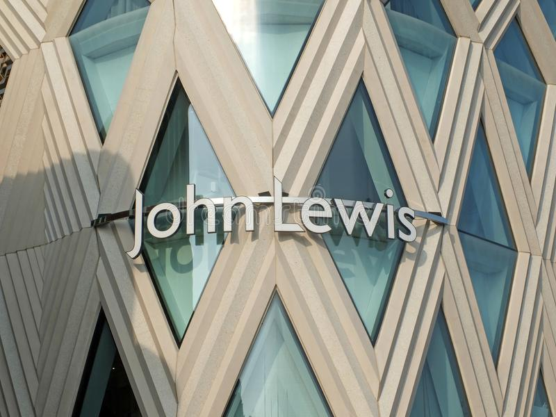 Leeds, west yorkshire, england: 17 april 2019: the facade john lewis retail development in the victoria quarter of leeds west. Yorkshire stock images