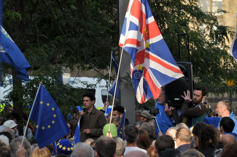 Alex sobel mp at the leeds for europe anti brexit demonstration. Leeds, west yorkshire, united kingdom - 29 august 2019: alex sobel mp at the leeds for europe stock photo