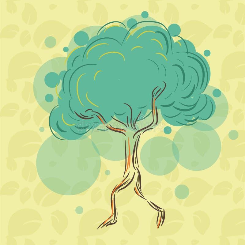 Leef eenzame boom op de bladeren te houden zodat zij niet verdwijnen en vanaf las lopen stock illustratie