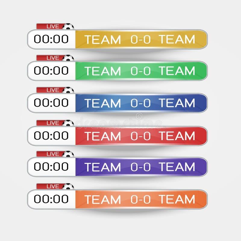 Leef Grafische Malplaatje van het scorebord het Digitale Scherm voor het Uitzenden van voetbal, voetbal of futsal, illustratie ve royalty-vrije illustratie