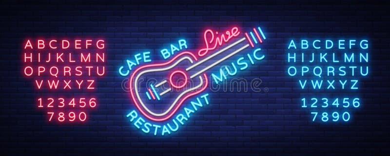 Leef het tekenvector van het muziekneon, affiche, embleem voor levend muziekfestival, muziekbars, karaoke, nachtclubs Malplaatje  vector illustratie