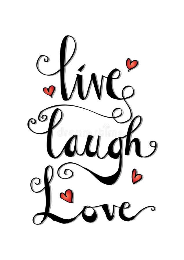 Leef, lach, liefdekaart stock illustratie