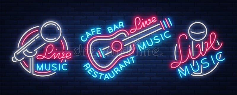 Leef muziekreeks vectoremblemen van neontekens, affiche, embleem voor levende muziekfestivallen, muziekbars, karaoke, nachtclubs vector illustratie