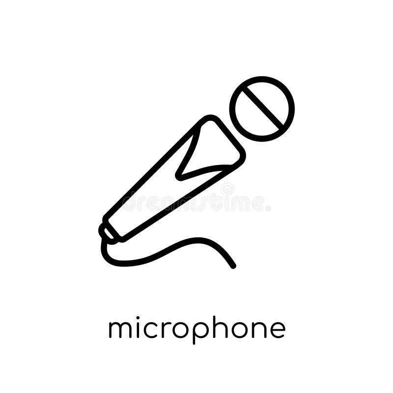 Leef muziekteken In moderne vlakke lineaire vectormicrofoonico vector illustratie