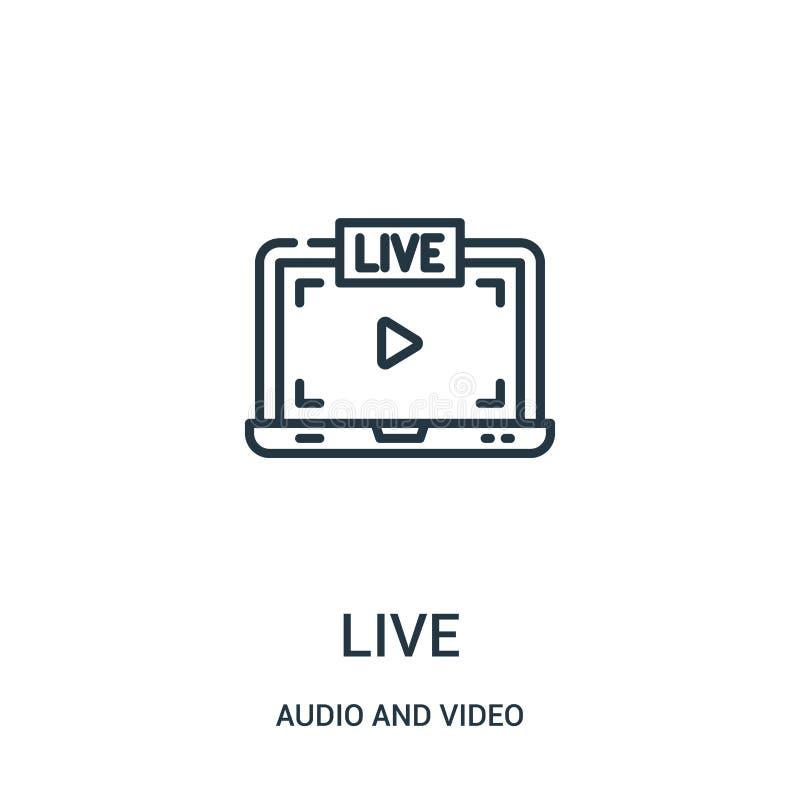leef pictogramvector van audio en videoinzameling Dunne het pictogram vectorillustratie van het lijn levende overzicht stock illustratie