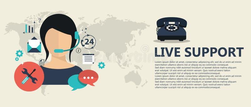 Leef steunbanner De dienstconcept van de zakelijke klantzorg De pictogrammenreeks van contact ons, steun, hulp, telefoongesprek e stock illustratie