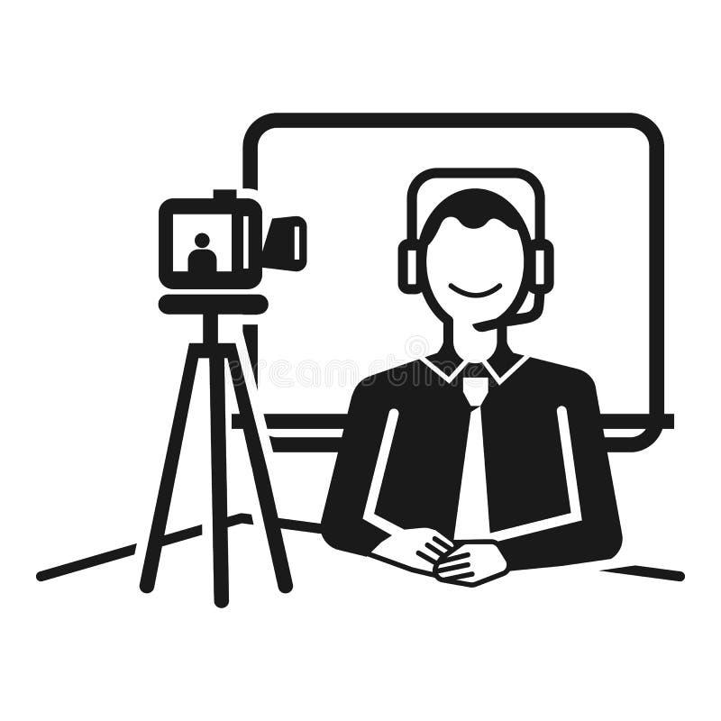 Leef TV-pictogram, eenvoudige stijl stock illustratie