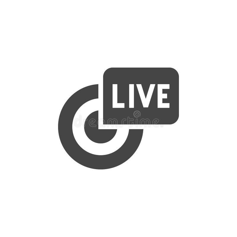 Leef uitzendings zwart vlak pictogram Rapportage, stroom, webcast conceptensymbool Online TV, radiokanaalembleem Glyphetiket vector illustratie