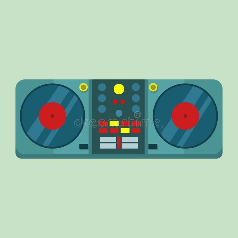 Leef Vastgestelde Grafische de Draaischijf Vectorillustratie van DJ vector illustratie