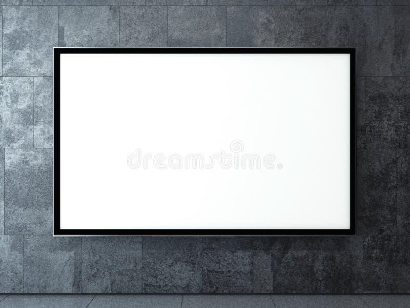 Leeg aanplakbord op een donkere muur het 3d teruggeven stock illustratie